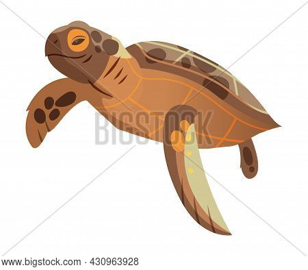 Brown Sea Turtle As Marine Reptile With Hard Shell And Flipper Vector Illustration