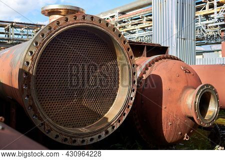 Industrial Heat Exchanger Or Boiler Rusty Tubes Bundle. Dismantled Heat Exchanger Shell And Tubes Wi