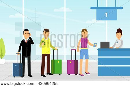 People Tourist Characters With Suitcase Standing In Queue For Buying Ticket Vector Illustration