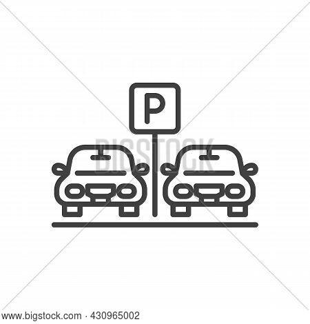 Car Parking Area Line Icon. Linear Style Sign For Mobile Concept And Web Design. Two Cars On Parking