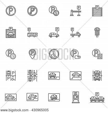 Car Parking Line Icons Set. Linear Style Symbols Collection, Outline Signs Pack. Parking Service Vec