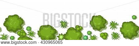 Jungle Forest Top View. Horizontal Seamless Border Composition. Overgrown Rainforest. Isolated On A