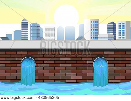 Sewage Discharge. Water Treatment Facilities. Eco-protective Structure. City Pipeline. Drainage Of D