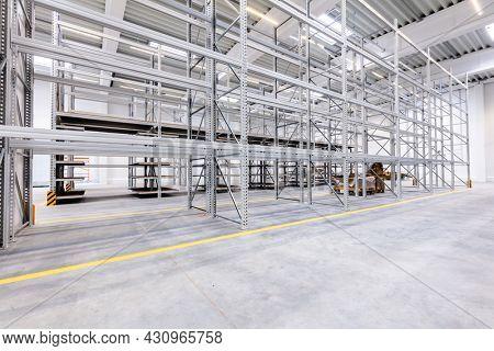 Warehouse industrial hall racking storage racks. Shelving system