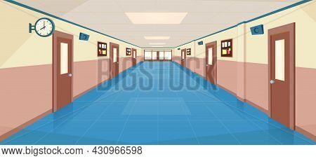 School Hallway Interior With Entrance Doors, Bulletin Board On Wall. Empty Corridor In College, Univ