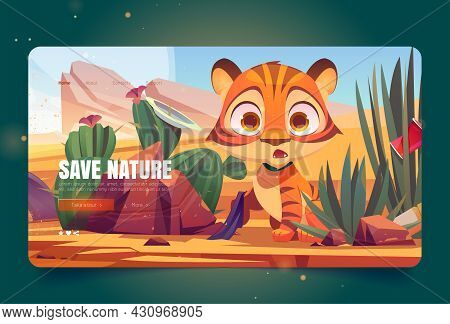 Save Nature Banner With Scared Tiger In Polluted Desert With Trash. Vector Landing Page Of Environme