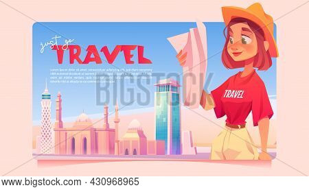 Just Go Travel Cartoon Banner. Tourist Girl Learning Map On Cityscape Background With Modern And Ant