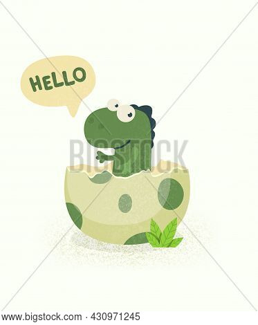 Little Dino. Hatched Little Dinosaur Baby, Child, Kid. Diplodocus, Dinosaur Egg. Cartoon Brontosauru