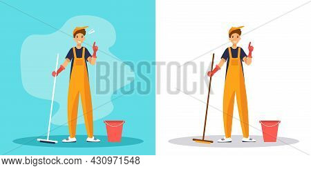 Man Janitor With Index Finger Up Gesture. Cleaner In Uniform With Mop On Blue And White Background.
