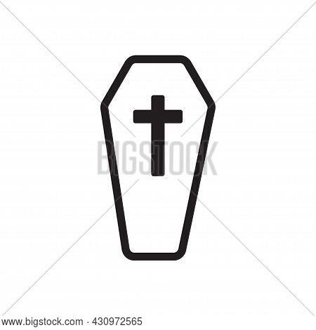 Halloween Coffin Silhouette Flat Icon Vector For Your Website Design, Logo, App, Ui. Illustration, E