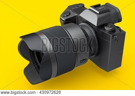 Concept Of Nonexistent Dslr Camera With Macro Lens Isolated On Yellow Background