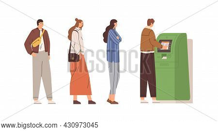 People Standing In Queue To Withdraw Cash Money Using Atm And Bank Cards. Men And Women In Line To A