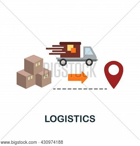 Logistics Flat Icon. Simple Sign From Collection. Creative Logistics Icon Illustration For Web Desig