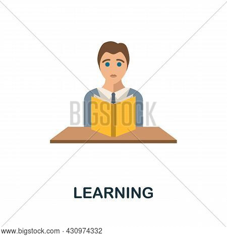 Learning Flat Icon. Colored Sign From Machine Learning Collection. Creative Learning Icon Illustrati