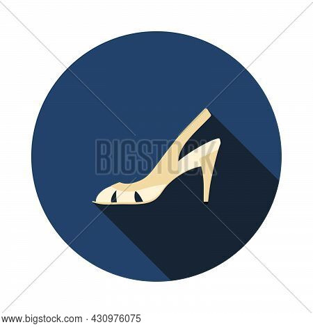 Woman Heeled Sandal Icon. Flat Circle Stencil Design With Long Shadow. Vector Illustration.