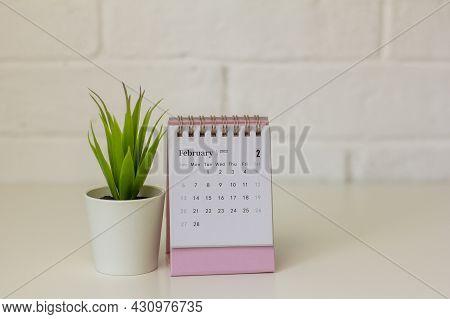Calendar For February 2022 . Desktop Calendar For Organizing And Planning On The Desktop.