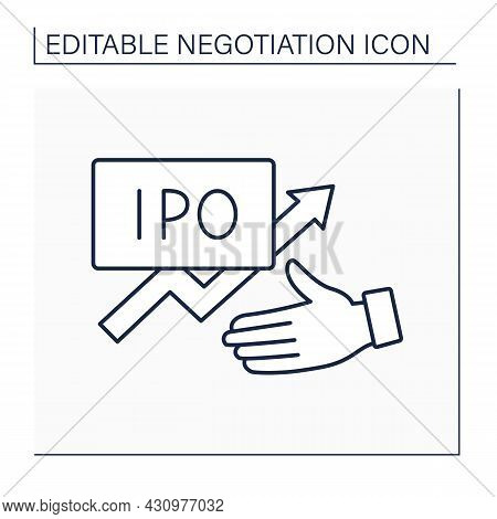 Initial Offer Line Icon. Corporation First Offered To Sell Stock To Public. Commercial Proposal. Neg