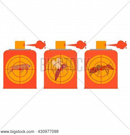 Repellent Spray Insect. Set Of Icons. Protection From The Mosquito, Midge, Gnat, Cockroach, Ant. Aer
