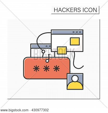 Phishing Color Icon. Password And User Account Stealing Hacker Attack. Concept Of Internet Security,