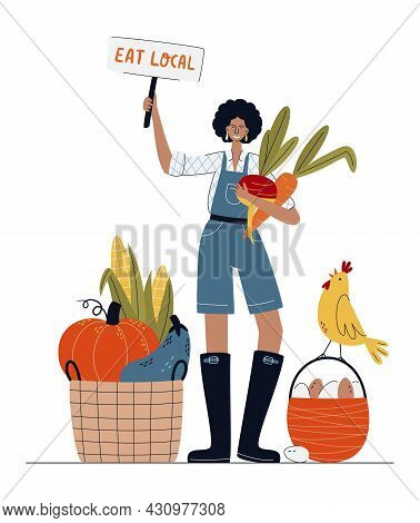 Eat Local Or Farm Market Concept. Farmer Woman In Modern Style.  Buy Fresh Organic Products From The