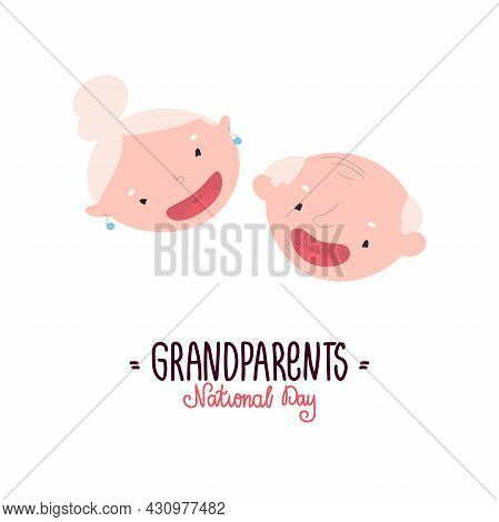National Grandparents Day. Cute Smiling Faces Of Grandparents. Vector Illustration Of Elderly People
