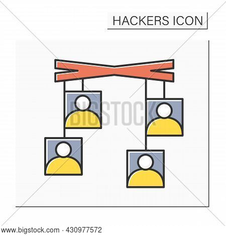 Social Engineering Color Icon. User Avatar On Mock Puppets. Concept Of Psychological Hacker Attack,