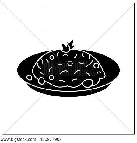 Fried Rice Glyph Icon. Chinese Stir-fry Bowl With Vegetables, Meat Or Seafood Ingredients. Tasty And