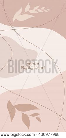 Abstract Minimal Vector Background For Stories. Abstract Organic Line Illustration For Backdrop. Abs