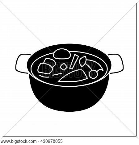 Hotpot Glyph Icon. Traditional Chinese Cuisine Meat Broth Soup Or Vegetable Stew. Concept Of Table S
