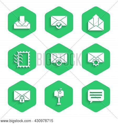 Set Received Message Concept, Mail Box, Speech Bubble Chat, Envelope Setting, Lock Password, Postal