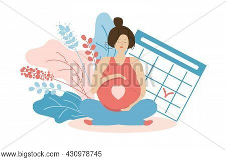 Cute Pregnant Woman In Flowers And With A Calendar. Time Of Labor Or Doctor S Appointment. Pregnancy