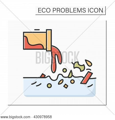 Water Pollution Color Icon. Sewerage Tube Linear Pictogram. Concept Of Industrial Wastewater, Factor