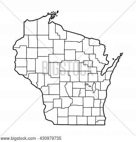 Outline Map Of Wisconsin White Background. Usa State,  Vector Map With Contour.