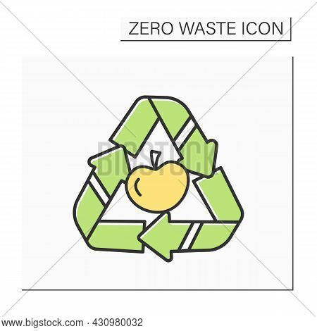 Food Waste Recycling Color Icon. Apple In Reusable Triangle. Concept Of Trash Sorting And Biodegrada