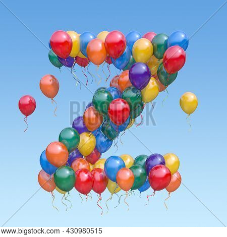 Letter Z from balloons in the sky. Text letter for holiday, birthday, celebration. 3d illustration