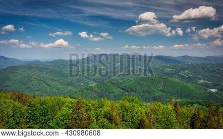 Beautiful landscape of the Silesian Beskids from Czantoria Wielka mountain. Poland
