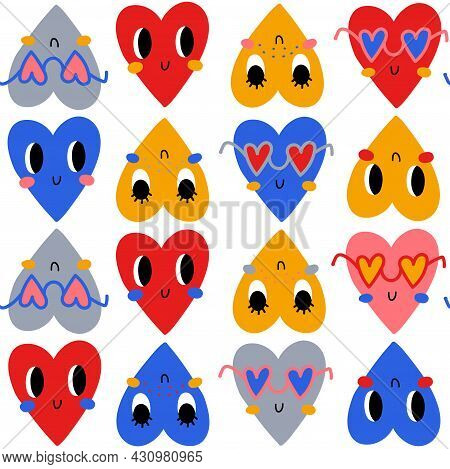 Hand Drawn Cute Bright Hearts With Faces. Vector Seamless Pattern. Cute Funny Characters For Valenti