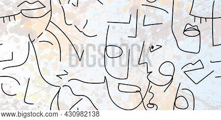 One Line Drawing. Abstract Face Seamless Pattern. Vector Modern Minimal Art. Graphics Contour Backgr