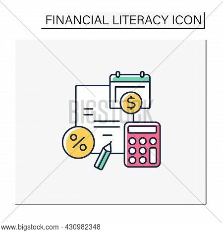 Budget Plan Color Icon.evaluating Earnings And Expenses. Accumulations. Financial Plan For Defined P