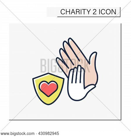 Protection Color Icon. Child Protection Organizations. Associations Save Children From Aggressive Pa