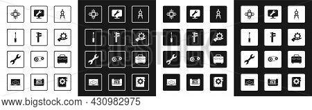 Set Drawing Compass, Calliper Or Caliper And Scale, Screwdriver, Processor With Microcircuits Cpu, S