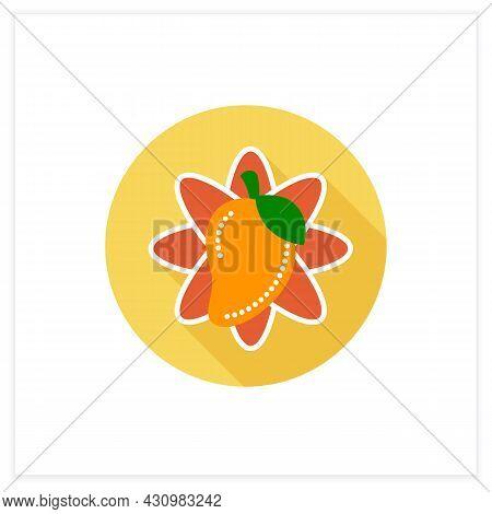 Mango Fruit Flat Icon. Tropical, Exotic Fruit. Sacral, Totem Plant. Indian National Symbol. Indian A