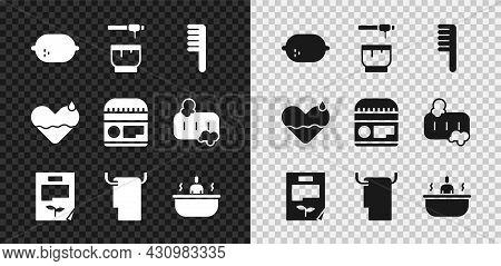 Set Lemon, Honey Dipper Stick And Bowl, Hairbrush, Leaf Document, Towel Hanger, Bathtub, Heart Heal
