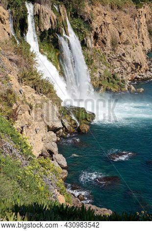 Lower Duden Waterfall Flowing Into The Mediterranean Sea In Antalya Turkey