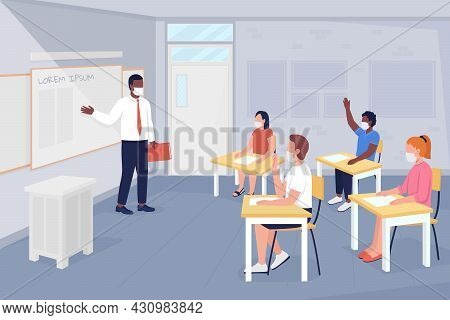 After Covid School Lesson Flat Color Vector Illustration. Studying And Discussing. Pupil Answers Que