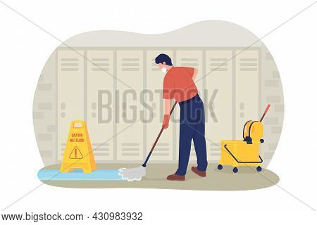 School Janitor In The Corridor 2d Vector Isolated Illustration. Adult Male Cleaner Mopping At School