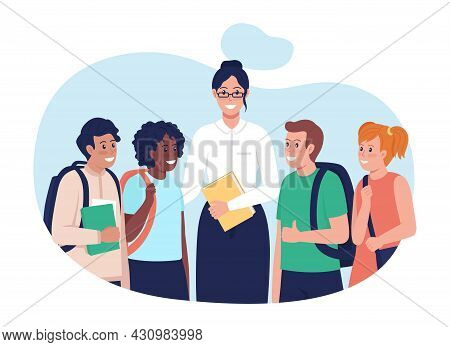Teacher With Students 2d Vector Isolated Illustration. Happy Multiracial People Flat Characters On C
