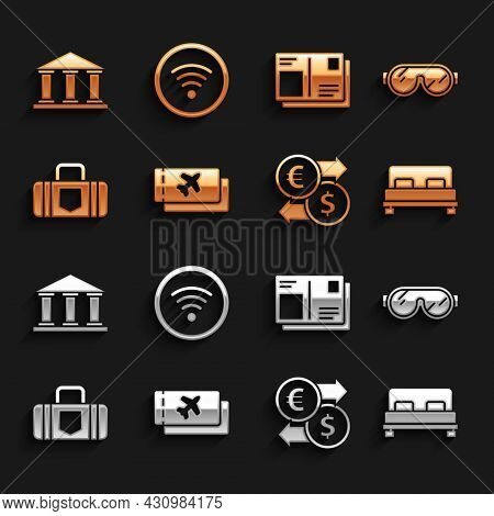Set Airline Ticket, Ski Goggles, Big Bed, Money Exchange, Suitcase, Passport With Visa Stamp, Museum