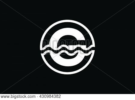 Initial G Monogram Alphabet In A Circle With Water Waves. Water Wave Logo Design. Logo For The Ocean