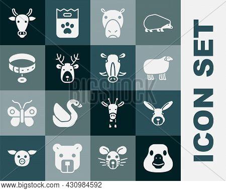 Set Goose Bird, Rabbit Head, Sheep, Hippo Or Hippopotamus, Deer With Antlers, Collar Name Tag, Cow A